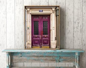 Paris Door Print, pink artwork, Paris Photography, Europe Architecture, 8x10 11x14 Photo, extra large artwork