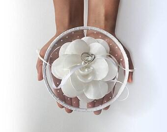 EXPRESS SHIPPING, Ring Pillow Alternative, Ring Bearer Pillow, Ring Holder, Ring Hoop, White Flower, Ring Pillow, Boho Wedding, Polka Dot