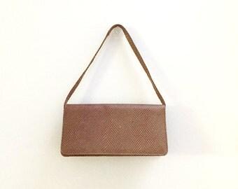 Vintage Charles Jourdan Leather Clutch Purse - Slim Brown Embossed Snakeskin Purse - Charles Jourdan Paris Leather Bag - Made in Spain Bag