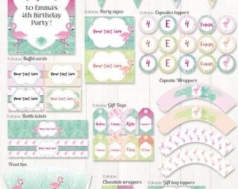 Flamingo Party Printable, Flamingo party decor for flamingo birthday, flamingo wedding, life size flamingo, tropical party, editable party