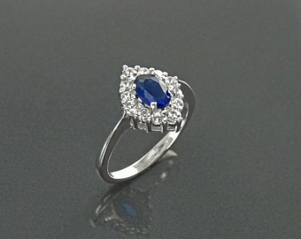 Small Sapphire Marquise Ring, Halo Ring, Lab Diamonds Blue Sapphire, Sterling Ring, Cluster Ring, Pave Stones Ring, Valentines Day Jewelry