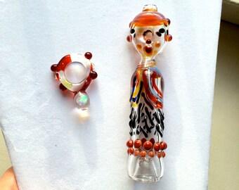 Glass Tobacco Chillum with matching Opal Pendant