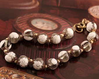 White Flower Bracelet, Vintage Venetian Millefiore Hand Knotted Beads