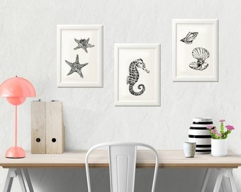 Bathroom wall art, Bathroom sign, Bathroom decor, Kids bathroom set, Bathroom prints, Kids wall art, Seahorse decor, Starfish, Oyster art