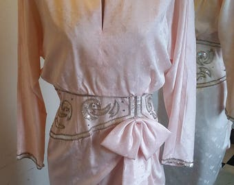 SALE - 80s does 40s Pink Sequined Silk Dress w/ Cascading Bow Detail