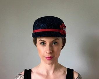Vintage 60's Navy Blue Brimmed Hat