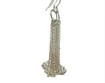 Tassel Earrings,  Long Earrings, Dangle and Drop Earrings, Chain Tassle Earrings, Silver Earrings, French Hook