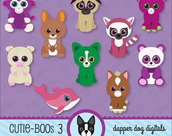Beanie Boo's Clipart Set, Glitter Eyes - Commercial Use, Digital Clip Art, Digital Images