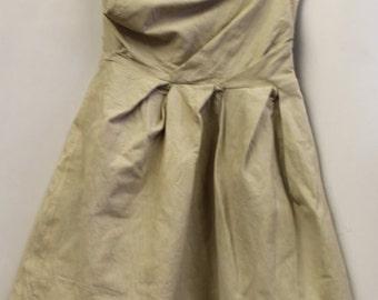 Beige Leather Dress XS /Tube Dress / Leather Tube Dress / Leather Dress Vintage /Beige Dress / Strapless dress /Strapless leather dress