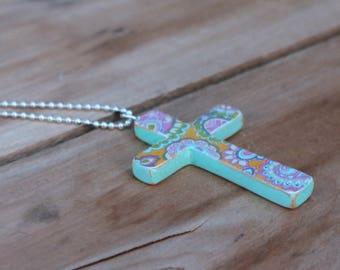 Boho jewelry, Wood Cross Necklace, Wooden Cross, Orange Necklace, Aqua necklace, Wood Cross Pendant, Cross for women, Decoupage cross, OOAK