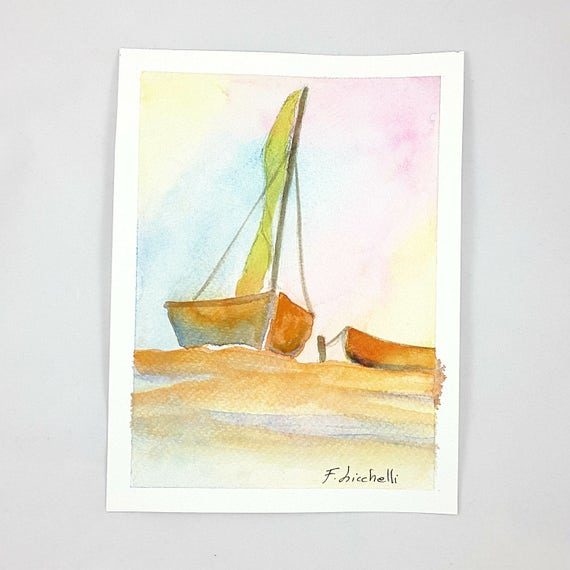 Seascape,boat on water,watercolor,ooak,15x20 cm./6x8 inc.,gift idea,wall art,home decoration,living,child's bedroom,birthday,nursery.