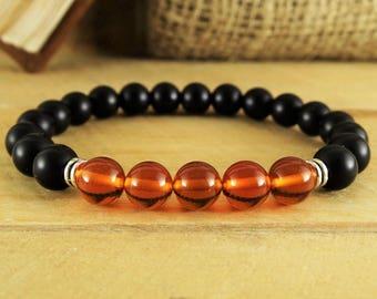 Mens Bracelet Amber Baltic Amber Bracelet Beaded Bracelet Mens Gift For Men Jewelry Yoga Jewelry Mens simple bracelet for healing bracelets