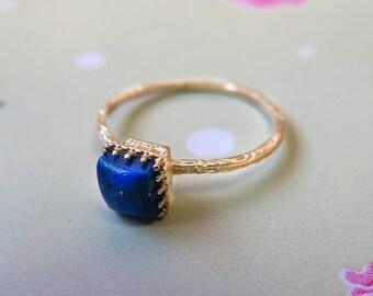 Lapis Lazuli Ring - Gold Lapis Ring - Lapis Ring - Dainty Ring - 14K Gold Ring - Lapis Gold Ring - Gemstone Ring - Blue Lapis - square ring
