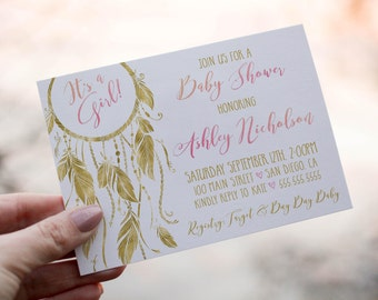 bohemian baby shower invitation pink and gold baby shower dream