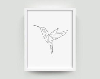 Hummingbirds | Hummingbird Wall Art | Geometric | Hummingbird Print | Minimalist | Geometric Wall Art | Bird Decor | Art Print | Printable