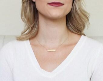 14k BAR necklace // 14k gold bar necklace // solid 14k gold necklace // solid 14k rose gold necklace // solid white gold bar necklace