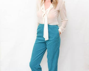 vintage teal trousers | vintage pants | elastic waistband pants | high waist | tapered lounge pants | size small | size 6P