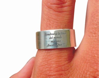 Band ring 925 Silver ring personalized, phrases, ligabue, vasco red songs, article 31
