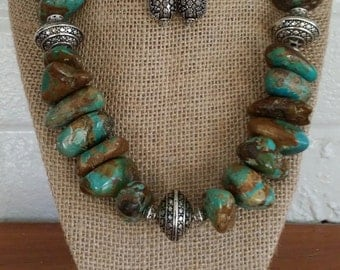 Turquoise Necklace, Turquoise Jewelry, Silver Earrings, Big Bold Chunky Necklace, Chunky Statement Necklace, Bold Stone Necklace, Statement