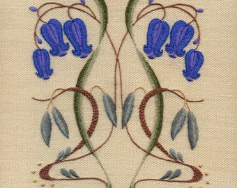 "Crewelwork Embroidery Kit ""Nouveau Bells And Willows"""