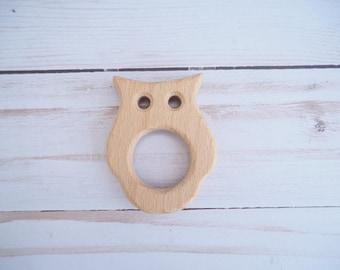 Owl Teether, Wooden Owl, DIY Teething, Baby Teether, Wooden Teethers, Wood Teething Shapes, Unfinished Wood, Natural Teethers, Wood Teether