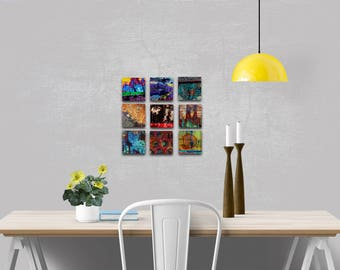 Colorful Metal Prints, Abstract Photos, Wall Art Set, Industrial, Urban Living, Modern Abstract, High Definition