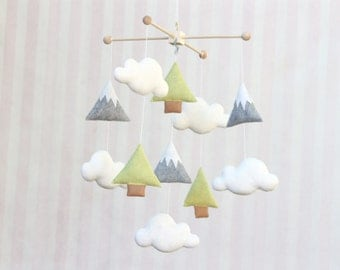 Baby Mobile Trees and Mountains Mobile Nature Mountains Nursery