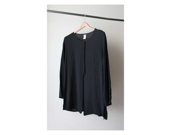 1990's Oversized Black Round Neck Tunic Top
