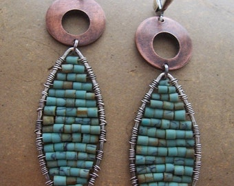 Mixed metal turquoise mosaic earrings Hand woven turquoise earrings Boho style drop earrings Gifts for her Natural stone earrings