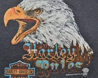 Vintage 80s 1985 HARLEY DAVIDSON Motorcycles Harley Rules Paper Thin 50/50 T SHIRT S Very Rare