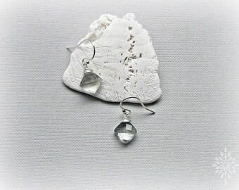 Green amethyst earrings, February birthstone, dainty amethyst silver earrings, petite earrings, prasiolite earrings, dangle earrings