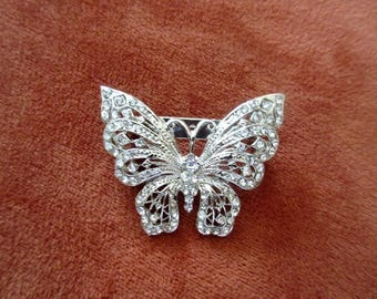 Rhinestone Butterfly Brooch, Silver Tone Filigree, Wedding Bridal, Nature Pin, Vintage