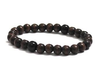 Men Wood Bracelet, Mens Beaded Bracelet, Wood Worry Beads Black Obsidian Chakra Protection Jewelry, Groomsmen Gift for Him Boyfriend Partner