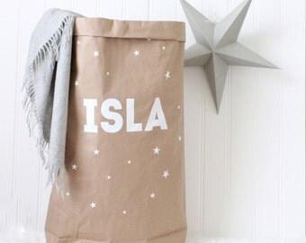 PERSONALISED toy storage, kids custom paper storage bag, toys books laundry storage, simple kids interiors, byebyebirdieengland