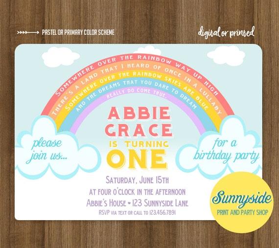 Rainbow Birthday Party Invitation for Boy or Girl Rainbow 1st