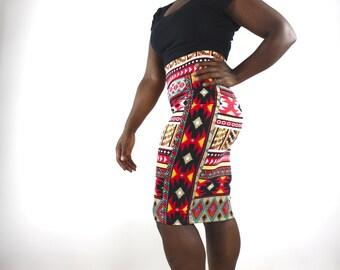 Midi Pencil Skirt with African ethnic print Midi Skirt Pinup Skirt high waisted skirt Wiggle Skirt Pull on Skirt Pinup clothing mod skirt