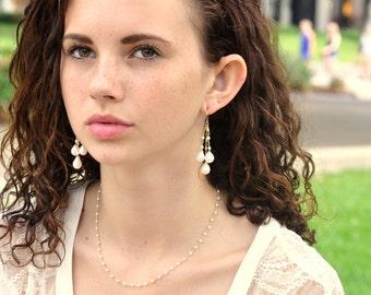 Freshwater Pearl Earrings, June Birthstone Earrings, Chandelier Earrings, Bridesmaid Gift, Weddings, Gift For Her
