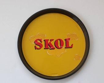 Skol Beer Lager Tin Tray-Serving Platter-Drinks Bar-Alcohol- retro home decor homeware-gift -vintage advertising -yellow