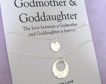 GODMOTHER baptism, goddaughter, Goddaughter Godmother Gift. Godmother Necklace Sterling. Gift for Godmother. Godchildren. Gift