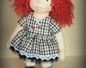 """Waldorf inspired 16"""" doll Poppy-Mae plus her outfits and felted bunny rabbit toy,cloth doll,soft doll,stuffed doll,Waldorf doll"""