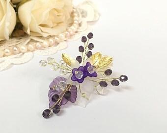 Bridal brooch, bridesmaid gift idea, wedding brooch, bridesmaid dress purple accessories, bridesmaid jewelry, flower brooch, wedding purple