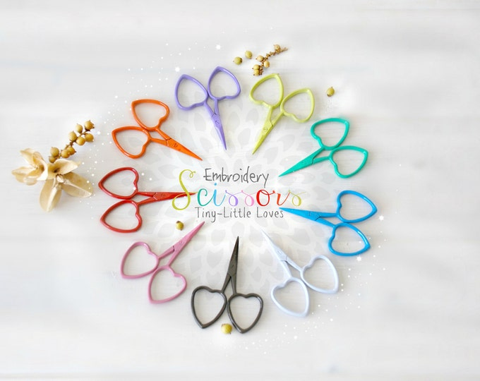 Featured listing image: Embroidery Scissors - Colorful Mini Scissors - Shears - Ribbon Scissors - Mini Scissor- Heart Embroidery Scissors - Cute Mini Heart Scissors