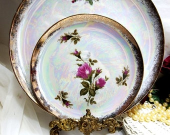Vintage circa 1940s, Moss Ross Dessert Set, Cake Plate with 5 Serving Plates, Lusterware