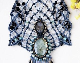 Labradorite, macrame necklace, unique, micro-macrame jewelry, statement necklace, gemstone, long beaded fringe, gothic, elegant, beadwork