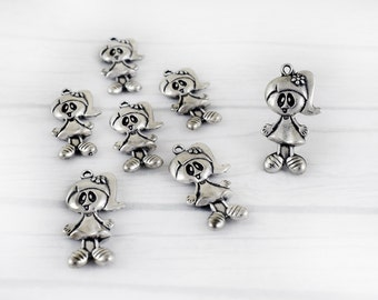 Antique Silver Girl Pendant Charm 20x37 mm, Little Girl Charm, Large Pendant for Jewelry Making, DIY Pendant
