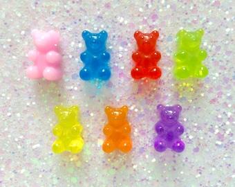 7 pcs - Rainbow Gummy Bear Hard Resin Cabochon Flatback - 17mm - Fake Candy - Faux Gummi Candy - Decoden - DIY - Kawaii