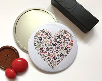 Paw print heart mirror – teacher gift –pocket mirror – paw prints – dog gifts – gift for pet lover –gift for vet – cat lover gift