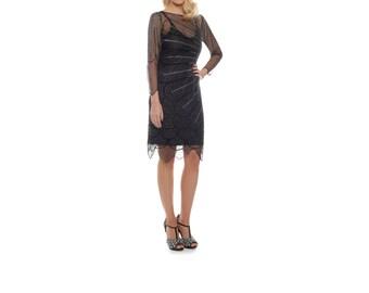 US14 UK18 AUS18 EU46 Black Catherine silver Flapper Dress with sleeves 20s Great Gatsby Art Deco Charleston Downton Abbey Bridesmaid Beaded