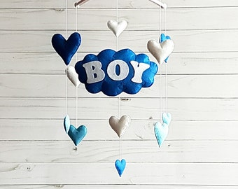 Blue baby boy mobile Nursery mobile Baby Felt crib mobile Cot mobile Hanging crib mobile Boy mobile New baby gift