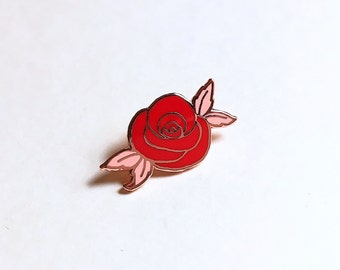 "Desert Rose Enamel Pin, 1"" Hard Enamel Pin in Rose Gold Finish w/ Rubber Clutch. Red & Pink Rose, Flower, Floral Cloisonné Brooch, Gift Idea"